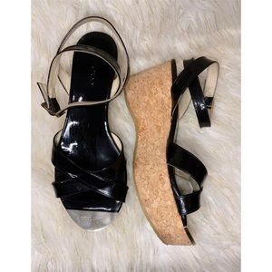 Jimmy Choo Patent Leather Cork Ankle Strap Wedges